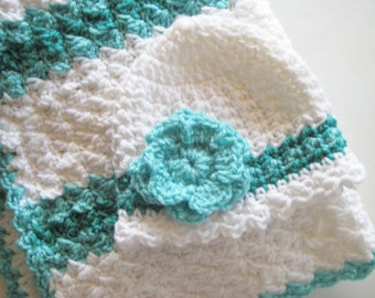 READY TO SHIP Crochet Baby Blanket Set, Baby Shower Gift, Baby Girl Blanket Set, Baby Carrier Blanket & Hat - White, Aqua, Ocean Green