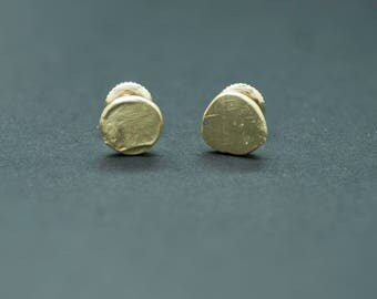 18k Gold Sun Disc Stud Earrings with Threaded Posts