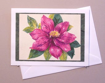 Note Card - Nature Print - Colored Pencil and Marker Enhancement - Clematis Flower - Pink Clematis - Blank Greeting Card - Floral Notecard