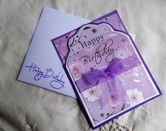 Handmade Birthday Card: ooak, purple, birthday, friend, silver, complete card, handmade, balsampondsdesign, flowers, seal, mom
