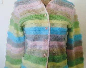 Vintage sweater cardigan bubble gum fluffy