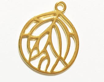 10 pcs of gold plated pendant 27x22mm, Gold teardrop  pendant, bulk alloy gold pendant