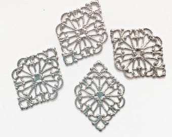 20 pcs of Antiqued silver  filigree diamond 21x15mm, antique silver filigree connector, platinum color connector
