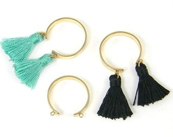 Tassel Ring Blank, Charm Ring Blank, Gold Adjustable Open Band Dangle Ring Jewelry Finding |G3-1|1