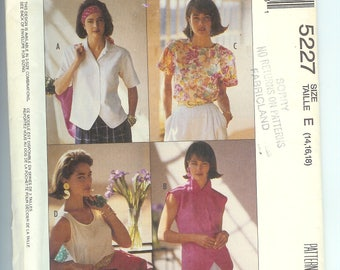 McCalls Misses Shirt Blouse  TOPS Tank Top Easy Sewing Pattern 5227  Size E  14-16-18  UNCUT Womans Day Collection  Cut to Fit