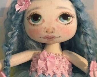Cloth Art Doll, Robin  OOAK Fabric Textile Doll, Collector rag doll