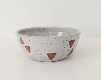 Ceramic Triangle Bowl, white ceramic bowl, white bowl with wax resist geometric design, pottery bowl, ceramic cereal bowl ice cream bowl