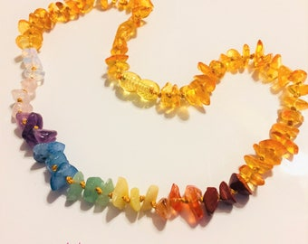 CONFIDENCE & TRANQUILITY Rainbow Gemstones Baltic Amber Nugget Style Necklace/Colorful Necklace/Pride... Ready to Ship!