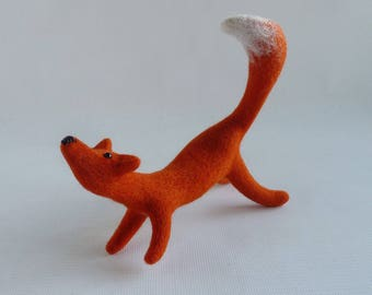Needle felted fox, wool sculpture fox, free world wide shipping