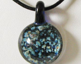 Dark Blue Galaxy Glass Pendant