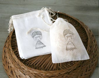 "Frida Muslin Drawstring Gift Pouch 5"" x 7"" - Wedding/Bridesmaids/Favors/Gift packaging/Fiesta theme"