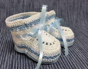 Baby Booties Baby Boy Booties Crochet Baby Booties Newborn Boy Blue and White