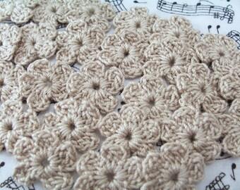 Crochet Small Flowers, Crochet Linen Flowers - 25 Flowers
