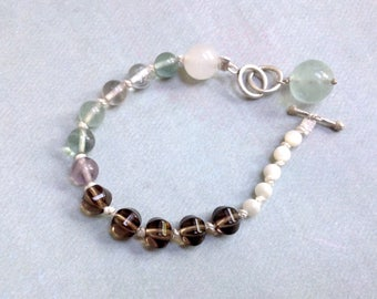 Fluorite Bracelet - Smokey Quartz Bracelet - Mother of Pearl Bracelet - Rose Quartz Bracelet - Silk Knotted Bracelet - Nautical Bracelet