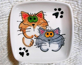 Goofy Cats On Square Pottery Dish Handmade Pet Dish by GMS