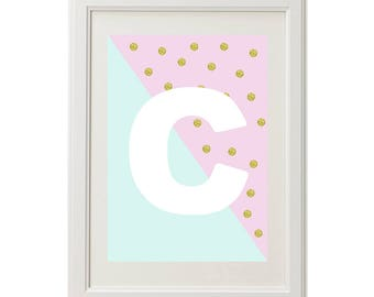 Golden Spot Personalised Girls Wall Print - Digital print