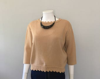 Vintage 1960s tan sweater / boxy pullover / knit sweater cropped / minimalist sweater Capsule wardrobe