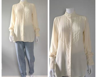 Off white tuxedo style button down poet sleeve blouse french cuffs mandarin collar