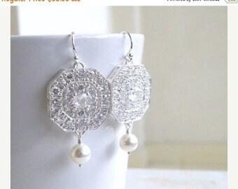 Summer Sale White Pearl Cushion Octagon CZ Silver Chandelier Earrings IE7