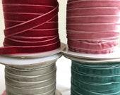 "YARD SALE 3/8"" Velvet ribbon  / sewing Ribbon / floral Ribbon / Wedding Ribbons / Wholesale ribbon / 20 yard spool"