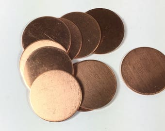 copper discs, 1 inch 18 gauge, round discs, set of 10, great for stamping, enamel base, rustic jewelry disc