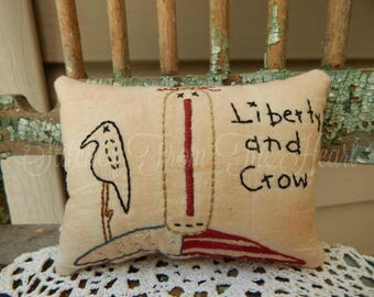Americana - Patriotic - Liberty and Crow - Raggedy Anne - Decorative Pillow - Primitive