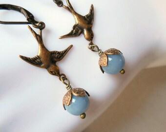 Swallow earrings with angelite, Birds, Angel flight earrings, Swallow flower earrings, natural gemstone, long vintage finish brass earrings