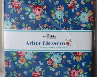 "SALE 10"" inch squares ARBOR BLOSSOM layer cake Stacker fabric by Nadra Ridgeway Riley Blake Designs"