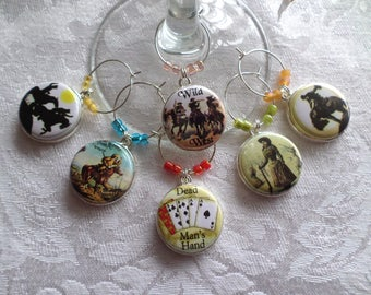 Wild West Wine & Drink Glass Charms - Set of 6