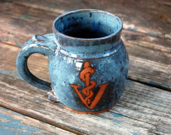 Veterinarian Insignia Medical Symbol Mug in Slate Blue- Made to Order