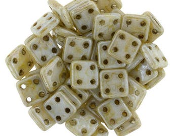 CzechMates Four Hole Quadratile Flat Square Beads 6mm - Opaque Beige and Cream Picasso Luster -Starman Czech Pressed Glass Bead