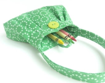 HALF OFF SALE small toddler gift. little girl crayon bag. purse under 25. twin first birthday tiny fabric handbag. flower girl gift