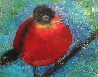 Red Robbin, 4x4 inches and 1 1/2 inches deep, Miniature art #Art #Original art #Little gifts #Gifts under #30 #Bird art #Nature #Home Decor