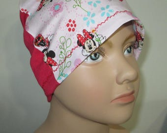 Kid's Chemo Hat,Minnie Mouse in Pink Children's Cancer Cap, Alopecia, Sleep Cap