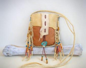 deerskin medicine bag >> PALOMINO << shaman shamanism bag, Spirit Pouch, southwest bag, Cowgirl cowboy, Unisex, stash 420 herb pouch