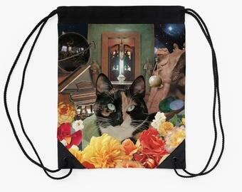Libra Drawstring Tote Bag - Astrology Zodiac Collage Art - September October Birthday Gift for the Cat Lover