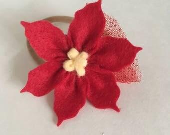 Small flower headband/ Petit bandeau fleur rouge