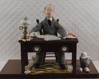 John Steinbeck American Writer Diorama Scene Bibliophilia Gift