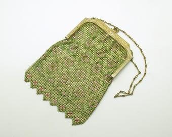 Antique Whiting Davis Metal Mesh Handbag Art Deco Cocktail Bag Flapper Evening Bag