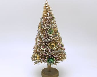 Vintage Bottle Brush Tree Christmas Decoration Glass Bead Garland
