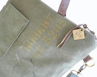 Military canvas & leather tote, crossbody, laptop bag - eco vintage fabrics