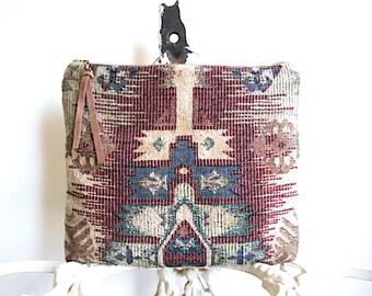 Tapestry tribal clutch, iPad Pro case - eco vintage fabrics