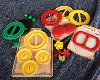Cheerful Yellow, Red and Green Buckles and Buttons - Plastic to Bakelite