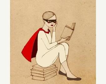 Sale SUPERHERO SET, Superhero Reader and Kintter Set,  Girl Deluxe Edition 2 Giclee Prints of original drawing