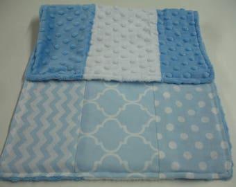 Baby Blue Mixed Geometrics Minky Baby Burp Cloth 13 x 20 READY TO SHIP On Sale