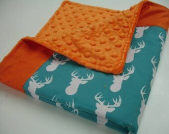 Teal Deer with Orange Minky Baby Security Blanket 21 x 22 READY TO SHIP On Sale