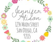 DIY Printable File- Floral Wreath Return Address Thank You Stickers- Avery Label 22807