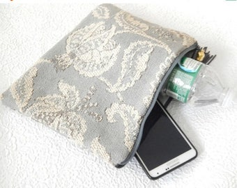 CLEARANCE - Upholstery pouch, grey ivory pouch, zipper pouch, lined clutch, fashion accessory, womens accessory