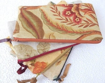 CLEARANCE - Upholstery pouch, linen zipper pouch, printed floral purse, fabric clutch, lined pouch, fashion accessory, 4 colors to choose fr