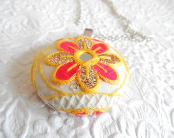 Yellow white red  embroidered necklace, floral necklace for women, 1.5 inch pendant